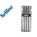 Rotulador Artline calibrado micrométrico color negro petaca de 4 unidades 0,2 0,4 0,6 0,8 mm