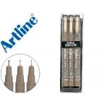 Rotulador Artline calibrado micrométrico ek negro bolsa de 3 unidades
