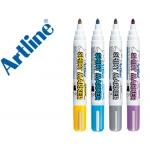 Rotulador Artline camiseta amarillo,gris,celeste y color violeta punta redonda 2 mm uso en camiseta caja de 4