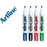 Rotulador Artline camiseta color negro rojo azul y verde punta redonda 2 mm para uso en camiseta caja de 4