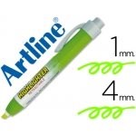 Rotulador Artline clix fluorescente color verde punta biselada 4.00 mm