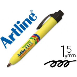 Rotulador Artline clix permanente color negro punta retractil redonda 1,5 mm