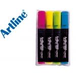 Rotulador Artline fluorescente 4 punta biselada bolsa de 4 rotuladores