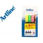 Rotulador Artline fluorescente blister de 3 unidades + 1 bolígrafo serie sin cargo