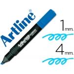 Rotulador Artline fluorescente color azul punta biselada