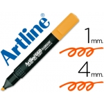 Rotulador Artline fluorescente color naranja punta biselada
