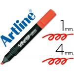 Rotulador Artline fluorescente color rojo punta biselada
