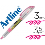 Rotulador Artline fluorescente color rosa punta biselada