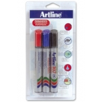 Rotulador Artline marcador permanente 107 punta redonda blister de 3 unidades (1 color negro 1 rojo 1 azul)