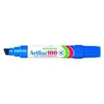 Artline 100 - Rotulador permanente, punta biselada, color azul