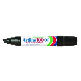 Artline 100 - Rotulador permanente, punta biselada, color negro