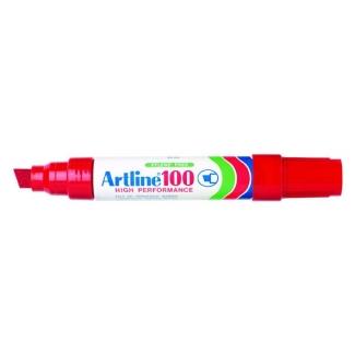 Artline 100 - Rotulador permanente, punta biselada, color rojo