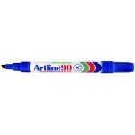 Artline EK-90 - Rotulador permanente, punta biselada, papel metal y cristal, color azul