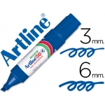 Rotulador Artline marcador permanente color azul punta biselada 6 mm papel metal y cristal