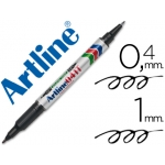 Rotulador Artline marcador permanente color negro doble punta 0.4 y 1.0 mm