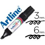 Rotulador Artline marcador permanente color negro punta biselada 6 mm papel metal y cristal