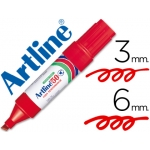 Rotulador Artline marcador permanente color rojo punta biselada 6 mm papel metal y cristal