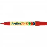 Artline EK-70 - Rotulador permanente para papel metal y cristal, punta redonda de 1 mm, color rojo