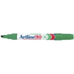 Rotulador Artline marcador permanente color verde punta biselada 5 mm papel metal y cristal