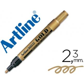 Artline EK-900 - Rotulador marcador permanente, punta redonda 2,3 mm, tinta metálica color oro