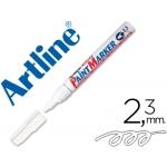 Artline EK-400 - Rotulador permanente, punta redonda de 2,3 mm, apto para metal caucho y plástico, color blanco
