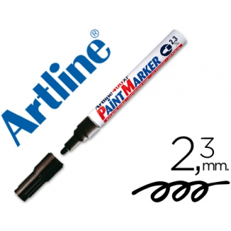 Artline EK-400 - Rotulador permanente, punta redonda de 2,3 mm, apto para metal, caucho y plástico, color negro