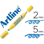 Rotulador Artline multipen color azul doble punta punta biselada 5 mm punta redonda 2 mm