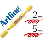 Rotulador Artline multipen color rojo doble punta punta biselada 5 mm punta redonda 2 mm