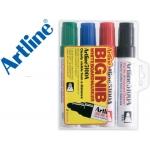 Rotulador Artline pizarra colores surtidos punta redonda 5 mm petaca 4 colores negro azul rojo verde