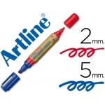 Rotulador Artline pizarra doble punta punta biselada 5 mm color azul punta redonda 2 mm roja