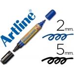 Rotulador Artline pizarra doble punta punta biselada 5 mm negra punta redonda 2 mm color azul