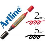 Rotulador Artline pizarra doble punta punta biselada 5 mm negra punta redonda 2 mm color roja