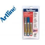 Rotulador Artline pizarra punta redonda 2 mm blister 1 color negro 1 rojo 1 azul