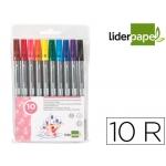 Rotulador Liderpapel duo bolsa 10 colores