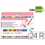 Liderpapel RT11 - Rotuladores de colores, doble punta, caja de 24 colores