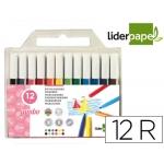 Liderpapel RT08 - Rotuladores de colores, punta gruesa, bolsa de 12 colores