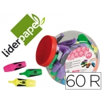 Rotulador Liderpapel mini fluorescente bombonera 60 unidades colores surtidos