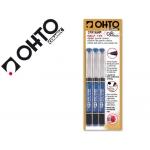 Rotulador Ohto roller punta cerámica color azul tinta liquida con visor blister de 3 roller-m