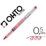 Rotulador Ohto roller punta cerámica color rojo tinta liquida con visor blister de 3 roller-m