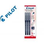 Rotulador Pilot punta aguja color negro 0.5 mm blister de 3 unidades-m