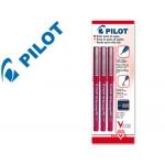 Rotulador Pilot punta aguja color rojo 0.5 mm blister de 3 unidades-m