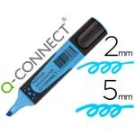 Rotulador Q-connect fluorescente color azul premium punta biselada con sujeción de caucho