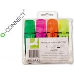 Rotulador Q-connect fluorescente premium estuche de 4 colores surtidos punta biselada con sujeción de