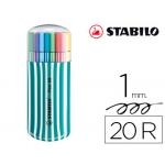 Rotulador Stabilo pen 68 punta media zebrui color turquesa estuche 20 unidades