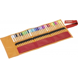 Stabilo Point 8830-2 - Rotulador punta de fibra, punta redonda de 0,4 mm, estuche rollerset de 30 rotuladores, colores surtidos