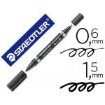 Rotulador Staedtler lumocolor permanente duo 348 color negro punta F 0,6 mm punta m 1,5 mm