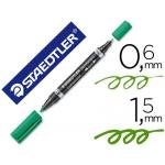 Rotulador Staedtler lumocolor permanente duo 348 color verde punta F 0,6 mm punta m 1,5 mm