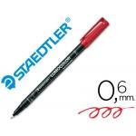 Rotulador lumocolor retroproyeccion punta de fibrapermanente 318-2 color rojo punta fina redonda 0.6 mm