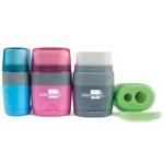 Liderpapel ER11 - Sacapuntas de plástico, con goma de borrar, con depósito, con 2 orificios, colores surtidos