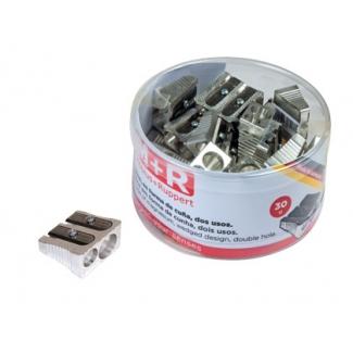 Mor 02110090 - Sacapuntas metálico, con 2 orificios, bote de 30 unidades